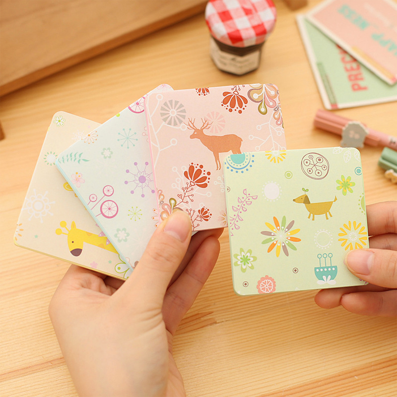 1Pack 2018 Hot Sale Animal Paradise Candy Color Mini Memo Pad N Times Sticky Notes School Supply Bookmark Post it Label E0405