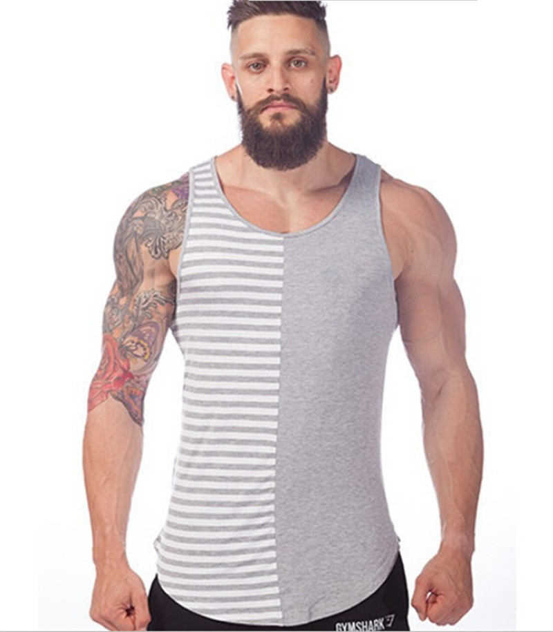 New Mens Gym Shirts Stripe Pattern Men Sleeveless T Shirt Back ...