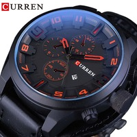 CURREN Black Genuine Leather Blue Glass Military Calendar Mens Sprot Wrist Watches Top Brand Luxury Male