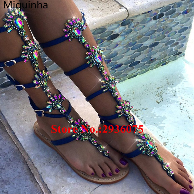 e048f2127004f Gold Metallic Leather Floral Bling Crystal Embellished Gladiator Sandals  Thong Flats Multi Buckle Knee High Bohemia Sexy Sandals
