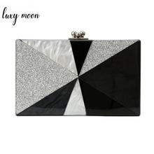 Geometric Patchwork Acrylic Clutch Bag Bolsa Feminina Luxury Handbags Women Crossbody Bags Hard Case Bolsos Mujer ZD1266