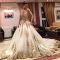 Vestidos de novia 2015 de manga larga grandes falda del cordón del oro Appliqued tren de la catedral Gorgeous Wedding los vestidos nupciales del vestido