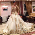 vestidos de novia 2015 Long Sleeve Big Skirt Gold Lace Appliqued Cathedral Train Gorgeous  Wedding Dresses Bridal Gown