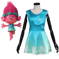 Trolls Cosplay Trolls Princess Poppy Dress Costume Adult Women's Halloween Carnival Costume Cosplay