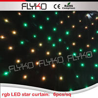3x4m Black Cloth Led Star Curtain With LED Glow Light