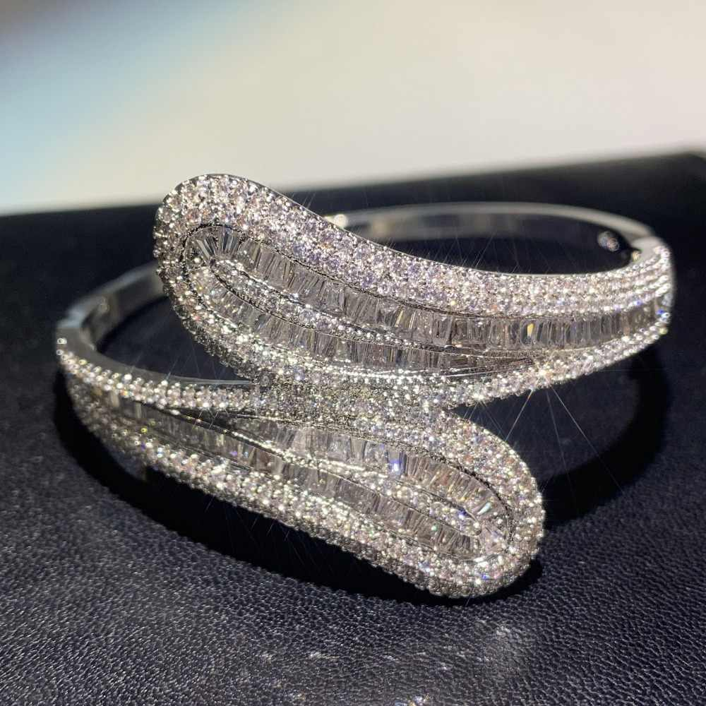 Choucong Luxury Jewelry 925 Sterling Silver T Shape 5A Cubic Zirconia Pave CZ Party Cross Bangle Women Wedding Bracelet Gift