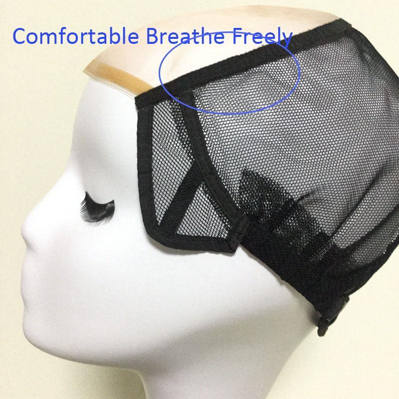 Mesh Front Glueless Lace Cap Wig Untuk Membuat Rambut palsu Dengan - Penjagaan rambut dan penggayaan - Foto 2
