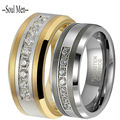 1 Pair Silver & Gold 8MM Tungsten Carbide Ring 7 Trillion with Brilliant CZ Diamonds Mens & Womens Wedding Comfort Fit