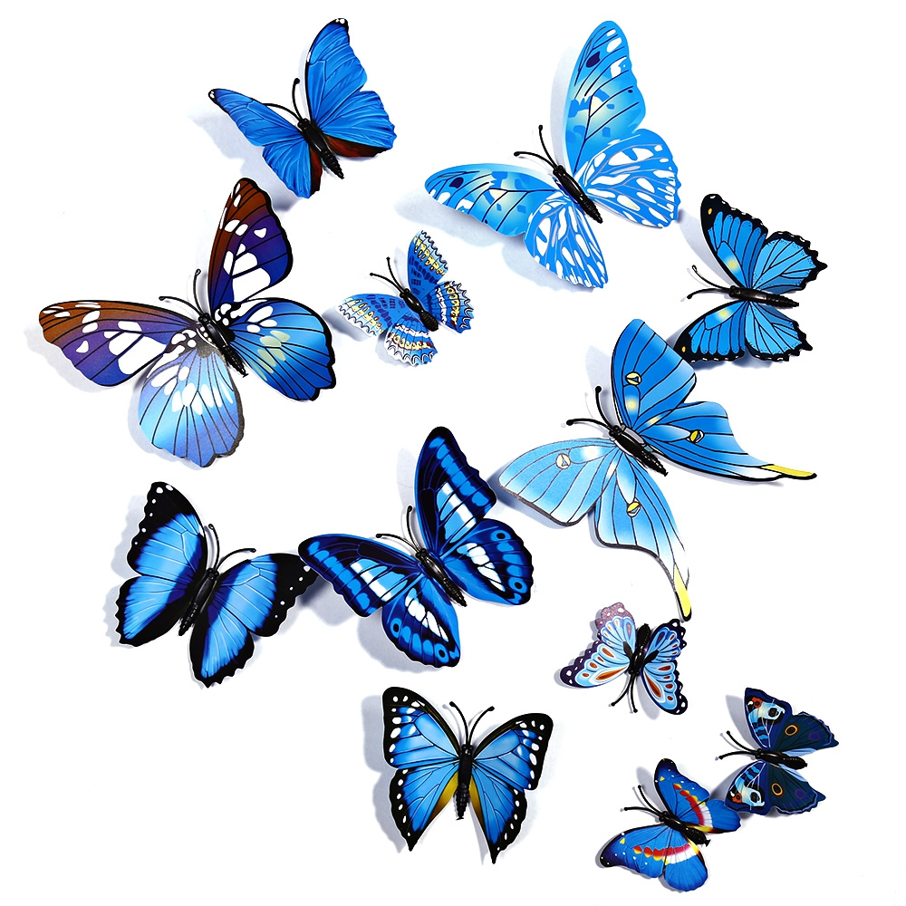 Hot selling 12pcs lot colorful pvc 3dbutterfly wall decor for Selling wallpaper