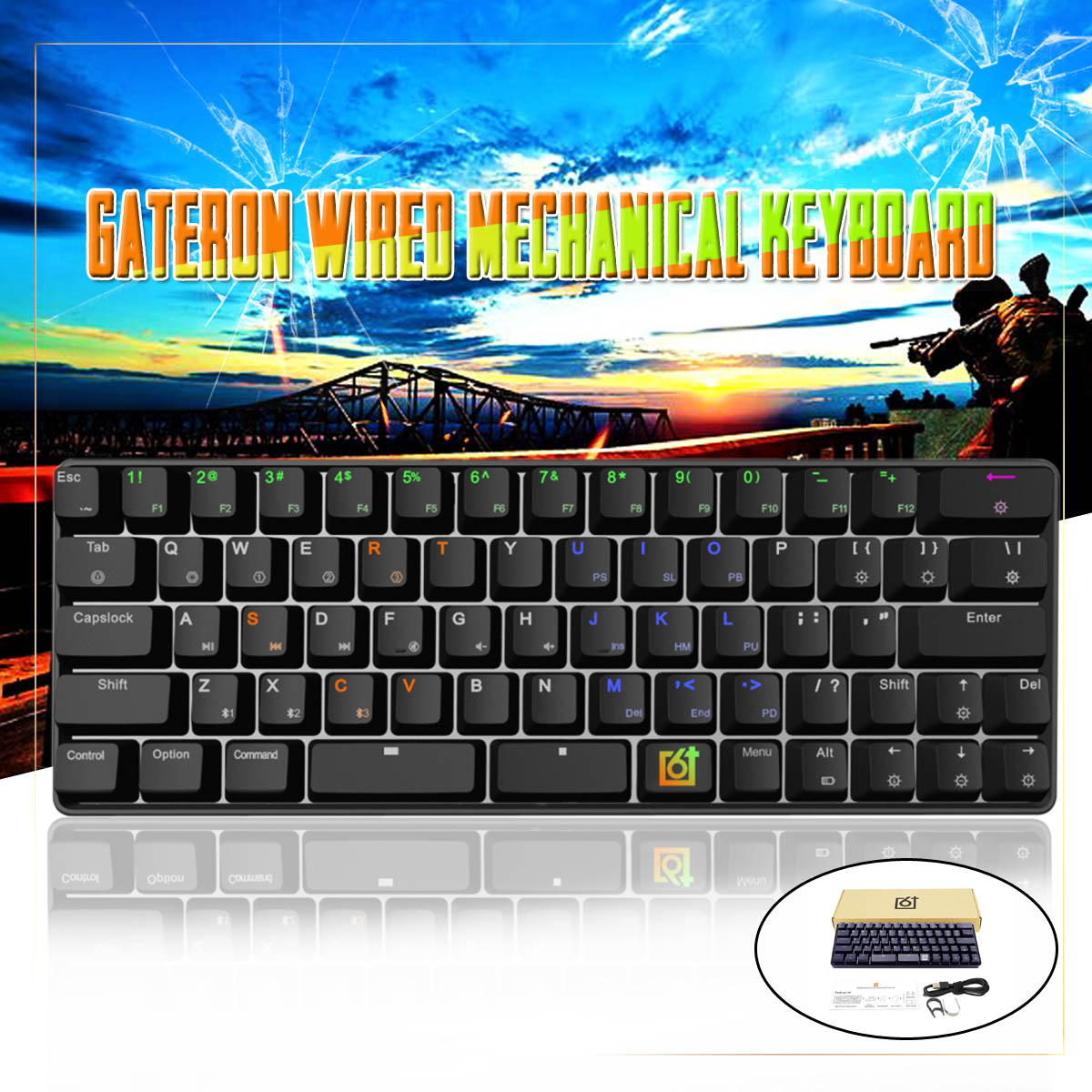 Gateron Optical Switch GK66 USB-C Wired Split-Spacebar Hot-swappable RGB Mechanical Gaming Keyboard
