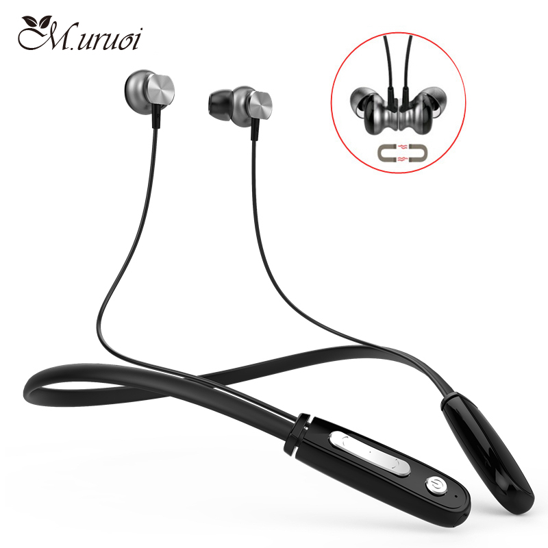 M.uruoi Cordless Hands Free Headphone Sport Stereo In Ear Bluetooth Earphones With Microphone Headsets Magnetic Earbud For Phone wallytech w801 metal super bass stereo in ear earphones with volume control with microphone headsets for ios iphone free shiping