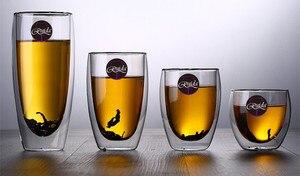 Image 4 - Marque 5 taille sans plomb Double paroi verre fait main résistant à la chaleur thé café boisson tasse isolé verre clair Drinkware