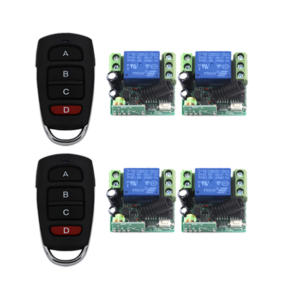 ФОТО Free shipping Wholesale DC 12V 10A relay 1CH wireless RF Remote Control Switch 2Transmitter+ 4Receiver+Case+Battery SKU: 5429
