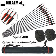 12pcs 30inch Archery Mix Carbon Arrow Quiver Spine 400 Explosion-Proof Ring Outdoor Compound Recurve Shooting Accessories