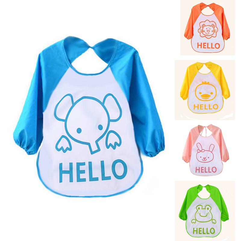 Cartoon Baby Bibs Long Sleeve Art Apron Children Bib Burp Clothes Soft Feeding Eat Toddler Waterproof