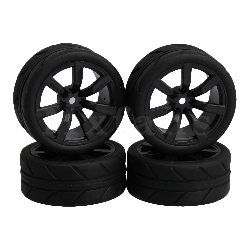 Mxfans Black Large Square Pattern Rubber Tyres + 7 Spoke Plastic Wheel Rims for RC 1:10 On-road Racing Car Pack of 4 mxfans rc 1 10 2 2 crawler car inflatable tires black alloy beadlock pack of 4