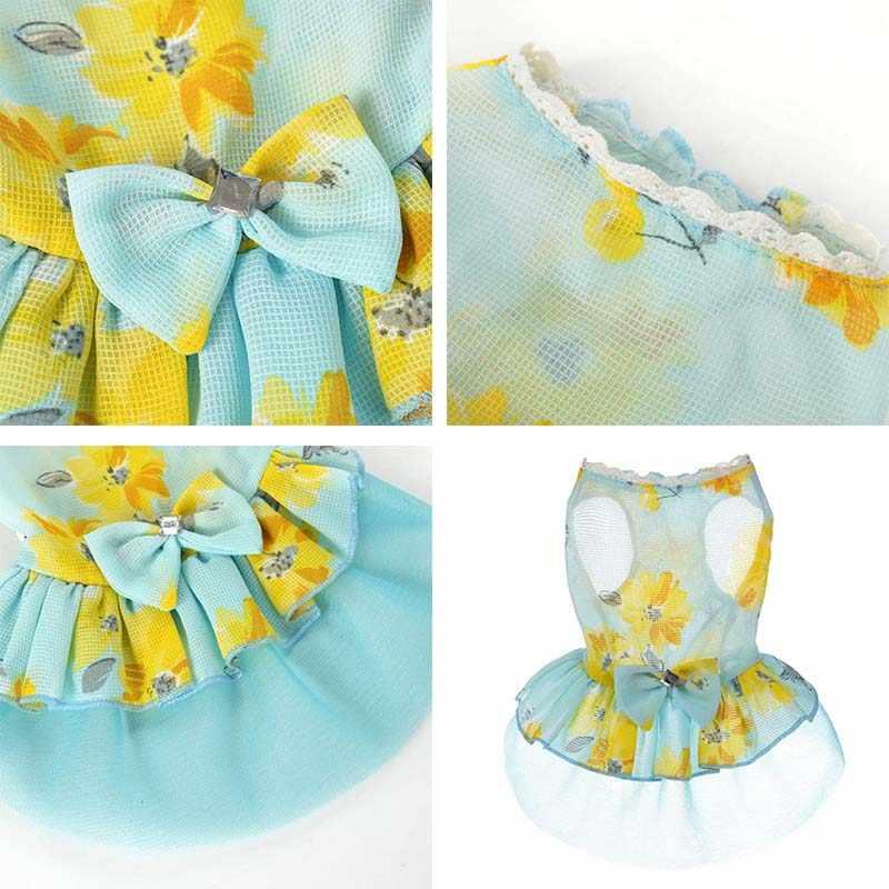 2018 Köpek yaz elbisesi Polyester Yay Prenses elbise Yuvarlak Boyun Parantez Etek Köpek Giysileri XS-XL