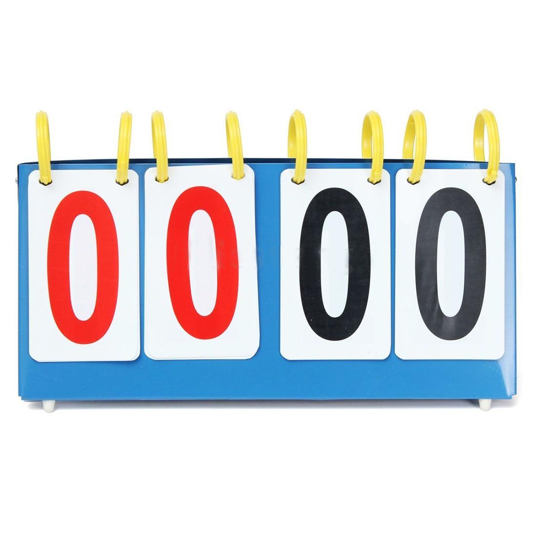 Portable 4 Digit Scoreboard Sports Flip Score Board Basketball Scorer Tennis