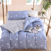 Cute Color Product New Solid 4 Pcs Bedding Set Microfiber Bedclothes Navy Blue Bed Linens Duvet Cover Sheet