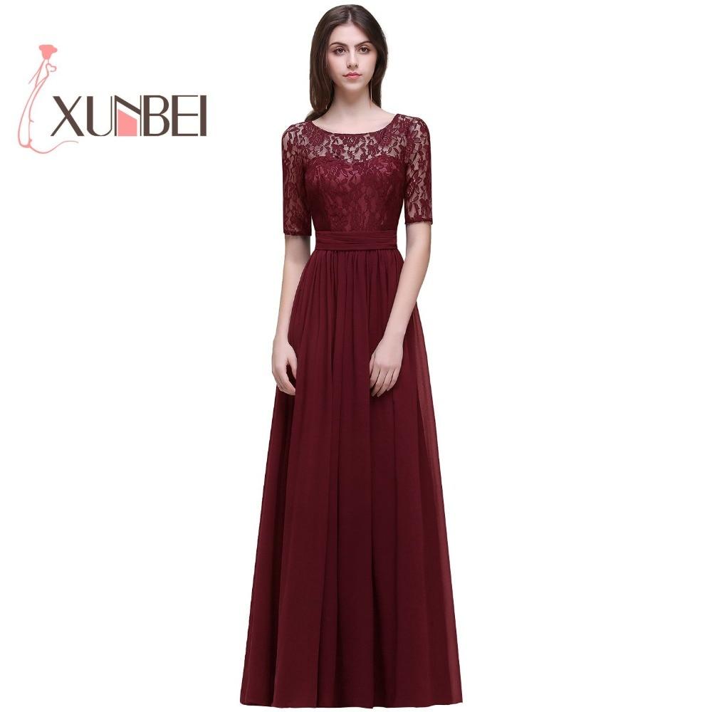 Vestido longo rosa Elegant Sleeves Burgundy A Line Lace Bridesmaid Dresses Long 2017 Chiffon Prom Dresses Party Gown