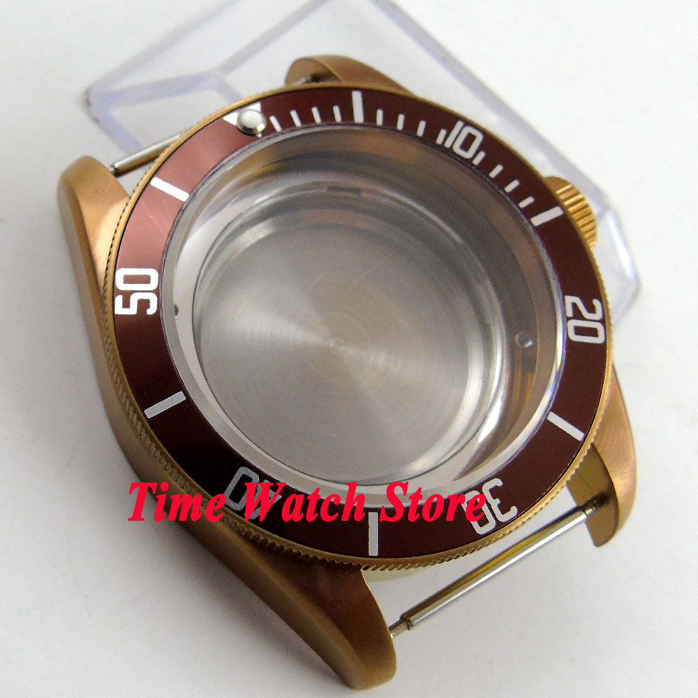 Boîtier de montre en verre saphir 41mm 20ATM café PVD pour mouvement ETA 2836 miborough avec cadran et aiguilles à café C103-in Montre Visages from Montres    3