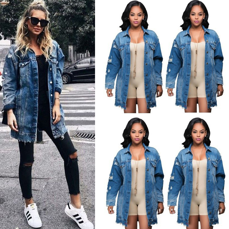 HTB1dm7dLNTpK1RjSZR0q6zEwXXaM Women's Basic Coat Holes Baggy Denim Jacket Long Sleeve Loose Street Style Outwear Winter NEW