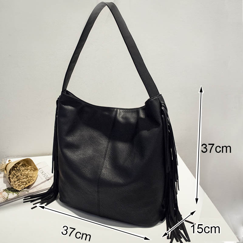 Tinkin Large Winter Bag Vintage Women Shoulder Bag Casual Daily Messenger Bag Fashion Tassel Totes All Match