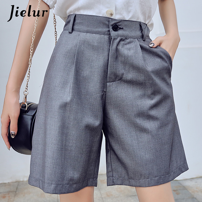 Jielur Women Summer Shorts Female Harajuku High Waist Short Pants Straight Cool Vintage Women Shorts 2019 Black Shorts M-5XL