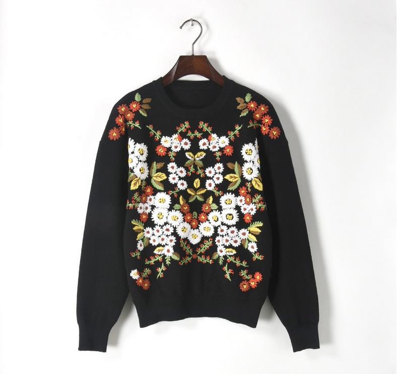 cou Chandail Arrivée O Femmes Mode Noir Automne Tricoté Nouvelle Hiver De L Chrysanthème Vintage Broderie S Et M qwnfB7xv