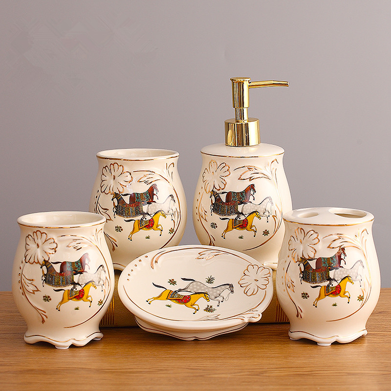 Ceramic Bathroom Set Five Piece Of Item Fashion Modern Toothbrush Holder Accessories Mouthwash In Sets From Home