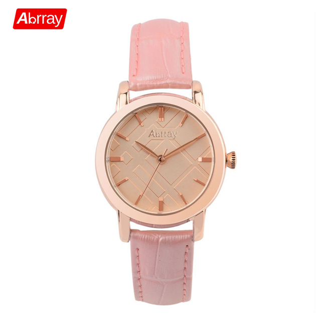 67ac26a02015 Abrray Elegant Women Watches Rose Gold Color Alloy Case Female Watch Pink  Genuine Leather Lady Ladies