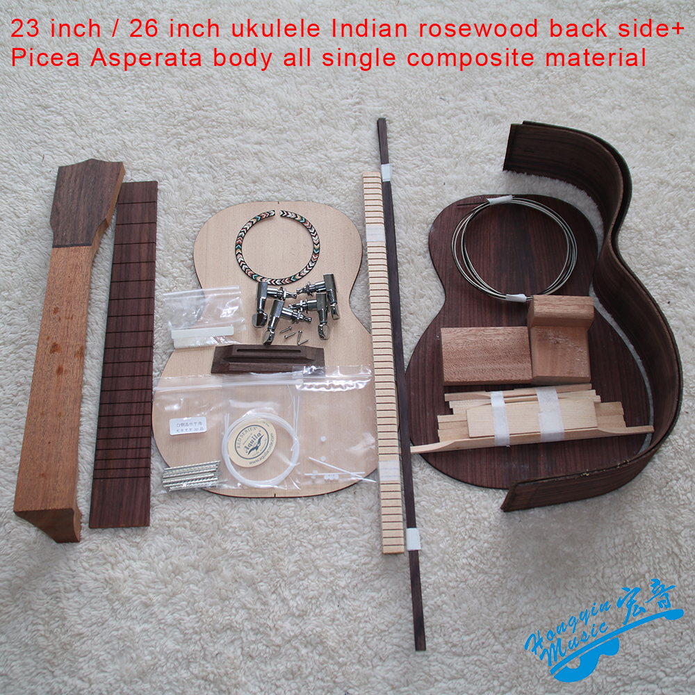 23inch/26inch DIY Ukelele Kit Ukulele Rosewood Back Side Picea Asperata Body Rosewood Fingerboard Set All Single Combination цены