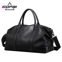 BOPAI 100% натуральная кожа мужские дорожные сумки верхний слой коровья кожа сумка вещевой мешок водонепроницаемый чемодан деловые выходные су