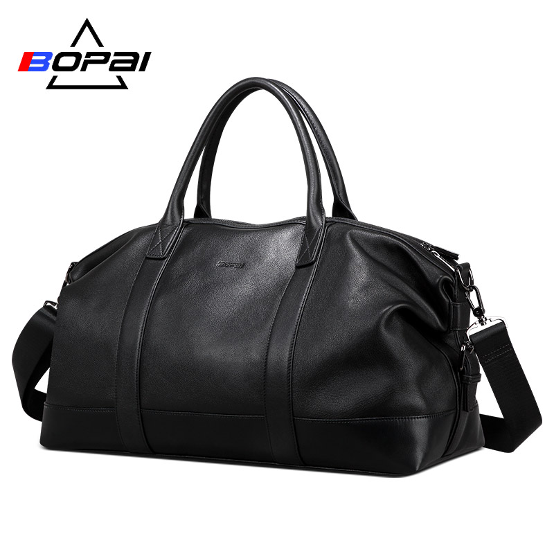 BOPAI 100% пояса из натуральной кожи для мужчин дорожные сумки Топ слои корова кожаная сумка вещевой мешок водонепроницаемый чемодан бизнес вых