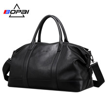 BOPAI 100% Genuine Leather Men Travel Bags Top Layer Cow Handbag Duffle Bag Waterproof Luggage Business Weekend
