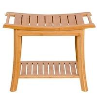 Rectangular Bamboo Bathroom Stool with Storage Shelf Shower Chair Seat Bench Spa Bath Organizer Stool HW55998