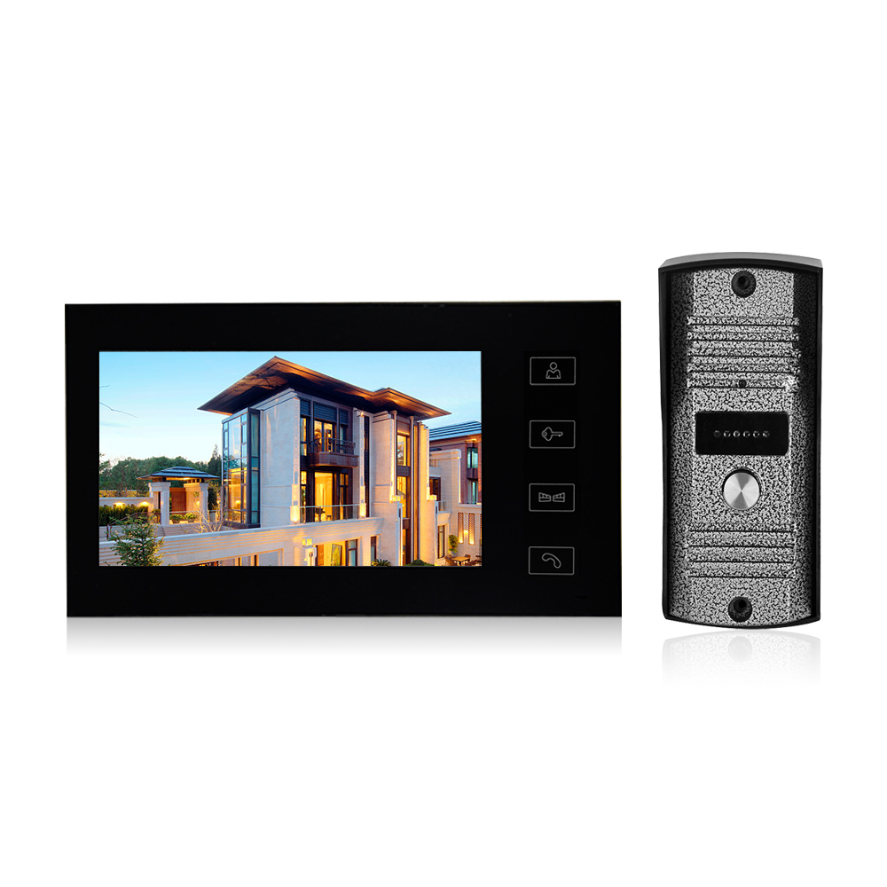 7 inch LCD Screen Monitor Video Door Phone Door Bell Touch Button Video Intercom Monitor Kit