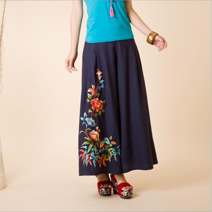 national style cotton and linen   wide     leg     pants   female summer vintage embroidery high waist women's casual trousers
