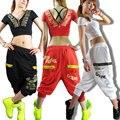 Mejor Versión, Mujeres de la manera de Hip hop danza pantalones de chándal del desgaste de trajes ds JAZZ pantalones harem loose pantalón casual femenino