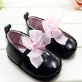 Toddler Girl Pink Silk Bowtie Knot Shoes Elastic Strapppy Soft Sole First Walkers QL