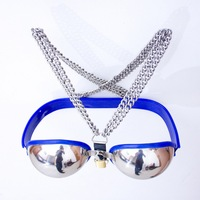 hot Stainless steel bra female chastity belt device nipple clamps fetish bdsm bondage erotic toys sex toys for woman chastity