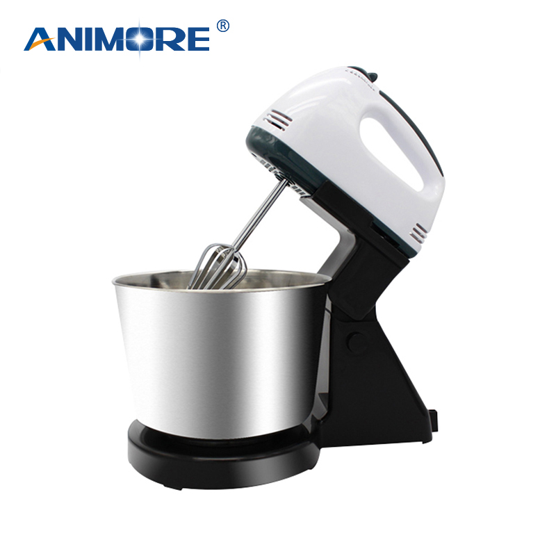 ANIMORE Electric Food Mixer Table Stand Cake Dough Mixer Handheld Egg Beater Blender Baking Whipping Cream Machine 7 Speed FM-03 bear mixer blenders electric egg whisk both handheld and table type dough mixer and noodle machine egg beater
