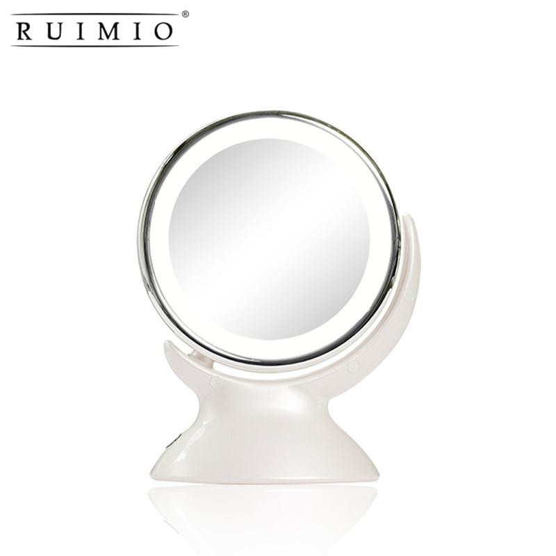 RUIMIO 360 Degree Rotary Round White Mirror Double Side 5x Magnifying Makeup Table Mirrors LED Light Cosmetic Tools Accessories