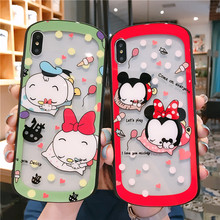 Cartoon Minnie Back Phone Case For iphone X XS MAX XR Tempered Glass Arc hollowing Cover 8 7 6S Plus Shell
