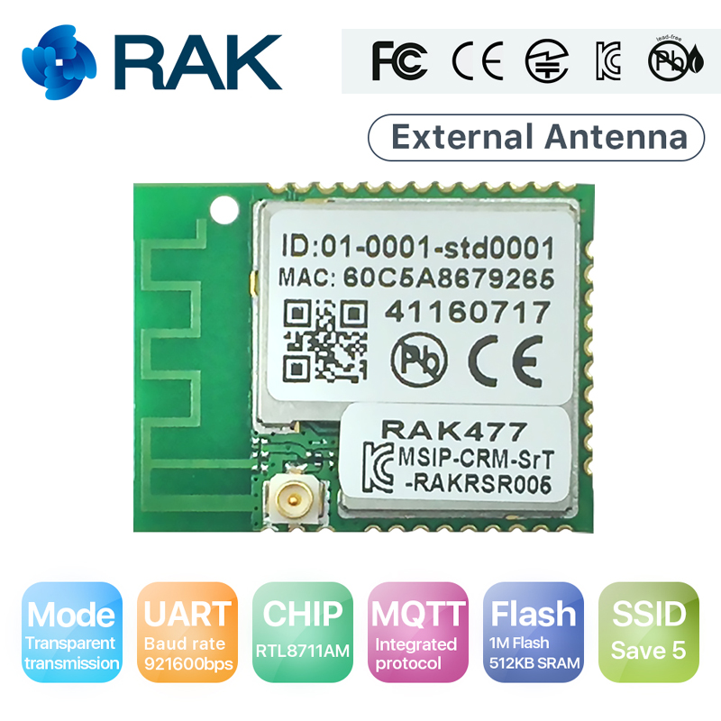 RAK477 Low Power Tiny Size UART Serial to WIFI  Industrial Module Tcp Ip Wireless IoT Module MQTT with External Antenna Q111 rt3070l module 6649e power amplifier 3070 usb wireless network card to support large flat antenna radar linux
