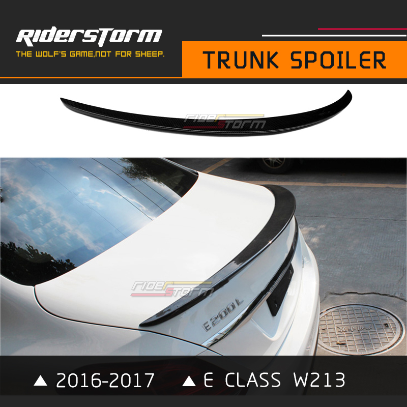 E Class W213 Amg Style Spoiler With 3M Tape Carbon Rear Tail Wing Bootlid Lip for Mercedes E200 E250 2016-2017 4 Door Sedan mercedes w212 car styling carbon fiber replacement spoiler for benz e class w212 amg style 2010 rear trunk tail spoiler wing