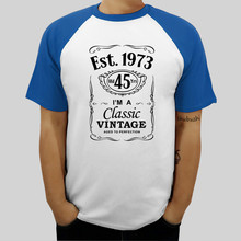 New Arrived Summer Cotton 100 Men Raglan T Shirt 45th Birthday Est