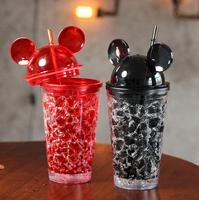 459ml Cool Summer Mickey Ice Crack Straws Smoothie Maker Cup Small Frozen Plastic Milkshake Smoothie Cups