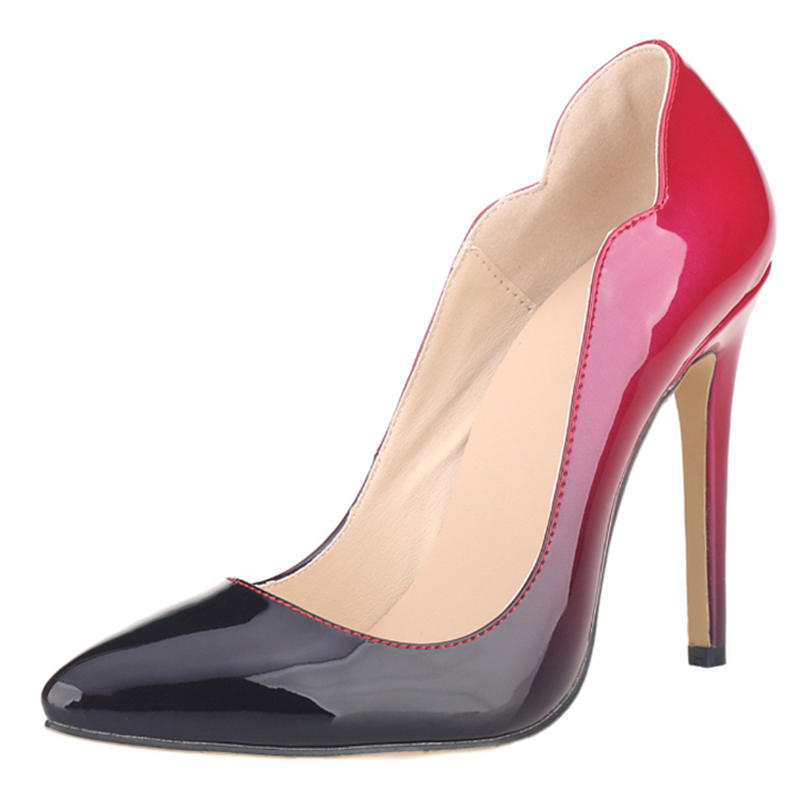 LOSLANDIFEN  Shallow Mouth Sexy Mixed Gradient Color Wave Stiletto Women Pumps Ultra Very High Heel Wedding Fetish Shoes 42 burgundy gray saphire blue pink women dress party career work shoes flock shallow mouth stiletto thin high heel pumps