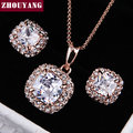ZHOUYANG Top Quality ZYS008  Gold Plated Elegant  Wedding Jewelry Necklace Earrings Set Made with Austrian  Crystals